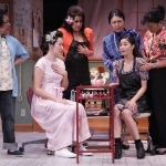 "New to town, Annelle (Lovelle Liquigan, center) sheds some light on her past with the ladies of Truvy's salon in East West Players' ""Steel Magnolias"" (L-R) Karen Huie, Ruth Coughlin, Hiwa Bourne, Dian Kobayashi, Liquigan, Patti Yasutake"